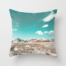 Vintage Desert Clouds // Teal Blue Skyline Mountain Range in the Mojave after a Snow Storm Throw Pillow