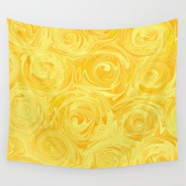 Honey Yellow Roses Abstract Wall Tapestry