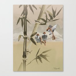 Spring Sparrows in Bamboo Tree Canvas Print
