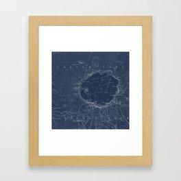 Crater Lake Blueprint Map Design Framed Art Print
