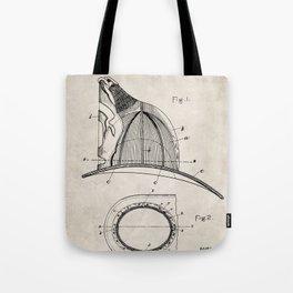 Firemans Helmet Patent - Fireman Art - Antique Tote Bag
