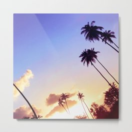 Love Palm Trees Coast  - Colorful Seaside Landscape Sunset Metal Print