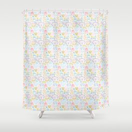 Vintage Dishes in Rainbow Shower Curtain