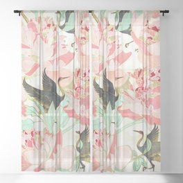 Floral Cranes Sheer Curtain