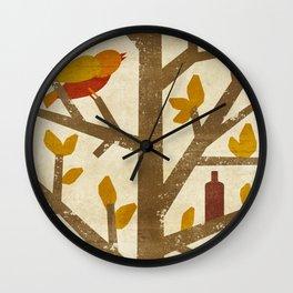 birds and wine Wall Clock