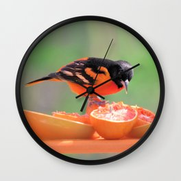 Orange Juice for Breakfast (Baltimore Oriole) Wall Clock