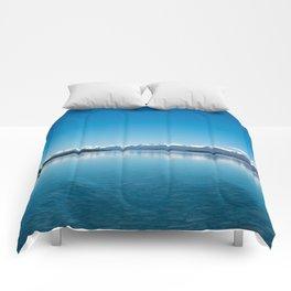 Blue line landscape Comforters