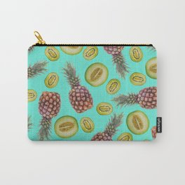Pineapple - Honeymoon - Kiwi Fruits pattern turquoise Carry-All Pouch