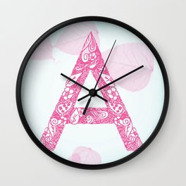Floral Letter 'A' Wall Clock