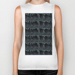 Black Beauty- Black and Grey Raindrop Abstract Pattern Biker Tank