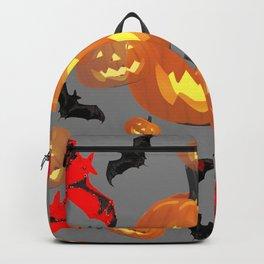 GREY HALLOWEEN JACK O'LANTERNS & BATS Backpack