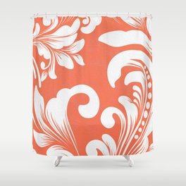 Warm Orange Coral Rococo Fleur Floral Print Shower Curtain