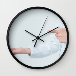 Person Wearing Medical Gown Gloves Surgical Mask Different Angle Shots Taken With Empty Sticker Paper Accessories Modern Smartphone Wall Clock