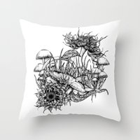 frog Throw Pillows featuring Frog by Corinne Elyse