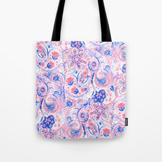 Paisley Watercolor Blue Tote Bag