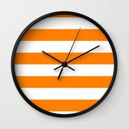 Horizontal Stripes - White and Orange Wall Clock