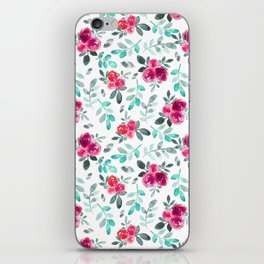 Watercolor fuchsia turquoise hand painted floral iPhone Skin