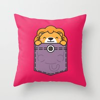 pocket Throw Pillows featuring Pocket Lion by Steven Toang