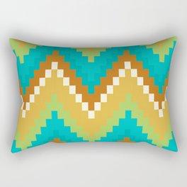 Native Aztec Brown Wavy Pattern Rectangular Pillow