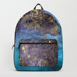 Gold floral mandala and confetti image Backpack