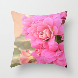 peach colored flower Throw Pillow