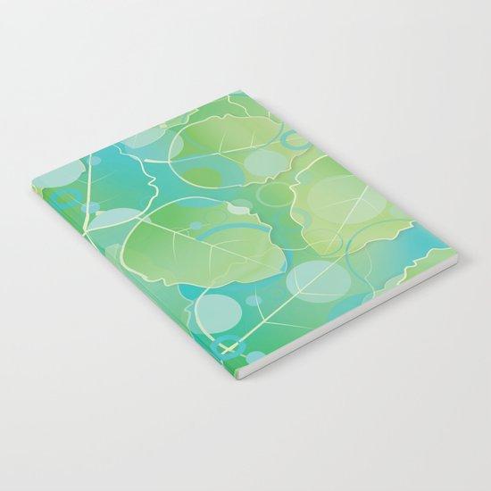 Floating  Green Leaves Pattern - Spring/Summer Notebook
