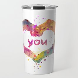 Heart Watercolor Art Print Love Hands Valentine's Day Travel Mug