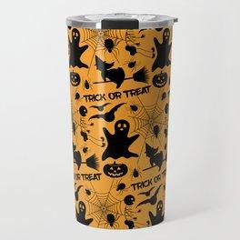 Orange Halloween Pattern - Ghost, Skeleton, Spider, Web, Flying Witch, Bat Travel Mug