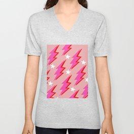 Pink Lightning Bolt Retro Fan Gift Unisex V-Neck
