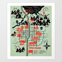 map Art Prints featuring Twin Peaks Map by Robert Farkas