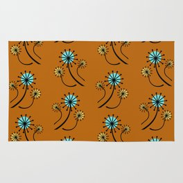 Mid Century Modern Dandelions on orange Rug