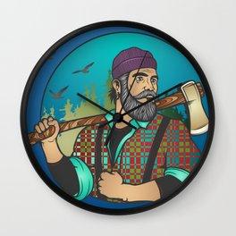 Hipster Lumberjack Blue Wall Clock