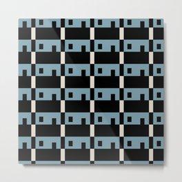 Row House Pattern Blue Metal Print