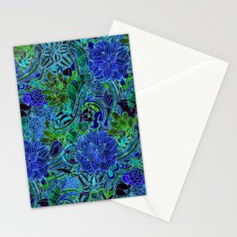 Blue Green Flower Pattern Stationery Cards