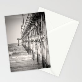 Fishing Pier Surf City Beach Topsail Island NC Sepia Black & White Stationery Cards