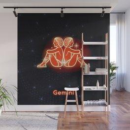 Zodiac red neon — Gemini Wall Mural
