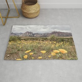 Wildflower Bloom | Vintage Red Rocks Las Vegas National Park Yellow Floral Landscape Rug