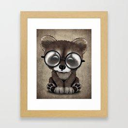 Cute Nerdy Raccoon Wearing Glasses Framed Art Print