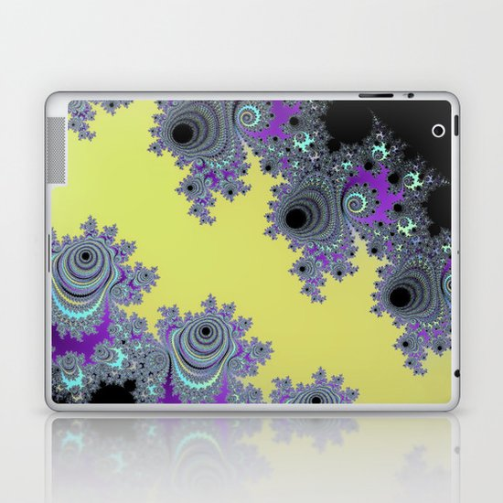 Asymmetrical Fractal in Yellow, Black and Purple Laptop & iPad Skin