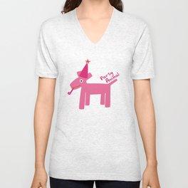 Party Animal-Pink Unisex V-Neck