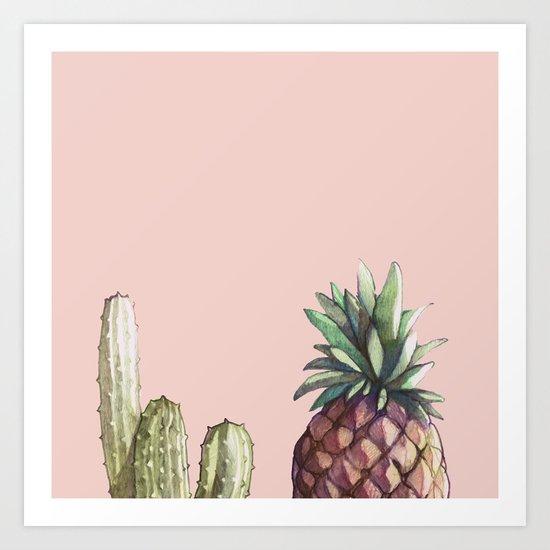 cactu and pineapple Art Print