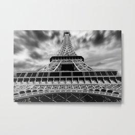 Eiffel Tower - Paris, France Black and White Photograph Metal Print