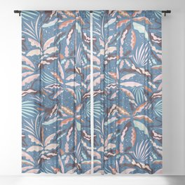 Exotic Wilderness on Blue / Panthers and Plants Sheer Curtain