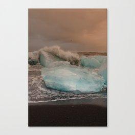 Sunset at the Glacier Lagoon Canvas Print