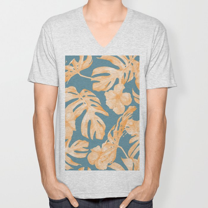 Island Hibiscus Palm Coral Teal Blue Unisex V-Neck