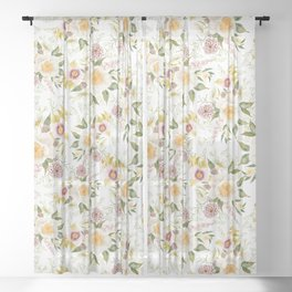 Soft Peony Bouquet Sheer Curtain
