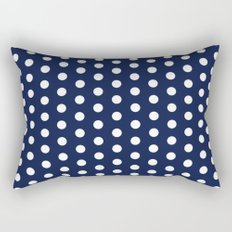 Indigo Navy Blue Polka Dot Rectangular Pillow