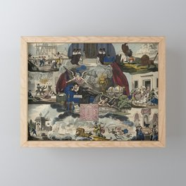 Raphael's Prophetic Almanack: fire, war, and a demon (1838) Framed Mini Art Print