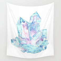 Pink Blue Crystal Cluster Wall Tapestry