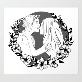 Lovers lineart Art Print